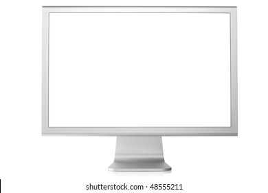 Computer Monitor with blank white screen. Isolated on white background.