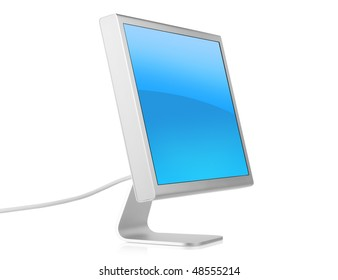 Computer Monitor with blue background. Isolated on white background.