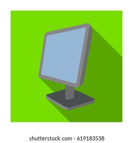 Computer monitor icon in flat style isolated on white background. Personal computer accessories symbol stock bitmap illustration.