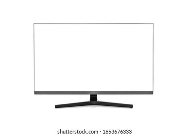 Computer monitor or LCD TV with a blank white screen isolated on a white background.