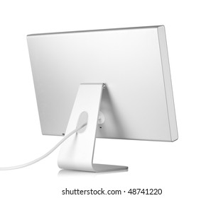 Computer Monitor. Rear view, isolated on white background