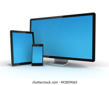 computer monitor tablet pc and mobile phone 3d illustration