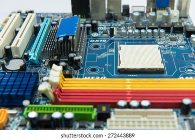 Computer motherboard close up Electronic computer hardware technology