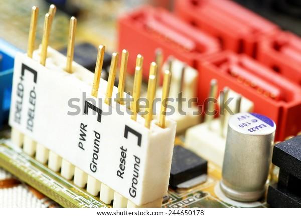 Computer Motherboard Detailsfront Panel Connector Stock