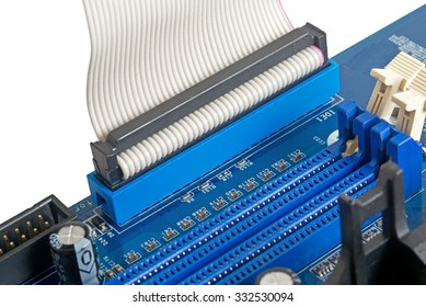 computer motherboard, electronic components on circuits board