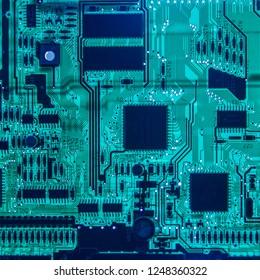 Computer motherboard glowing closeup