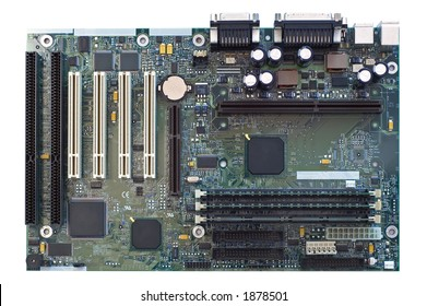 a computer motherboard on white background