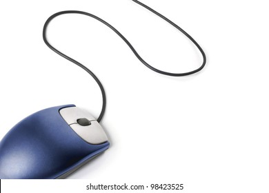 Computer mouse - Blue on white background