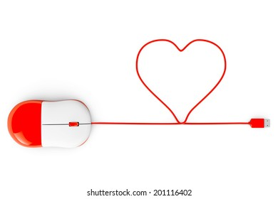Computer mouse and cables in form of heart on a white background