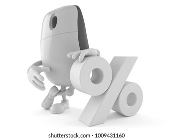 Computer mouse character with percent symbol isolated on white background. 3d illustration