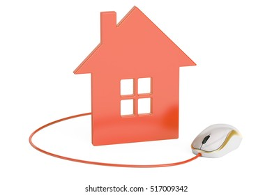 computer mouse connected to house, home control concept or real-estate concept. 3D rendering
