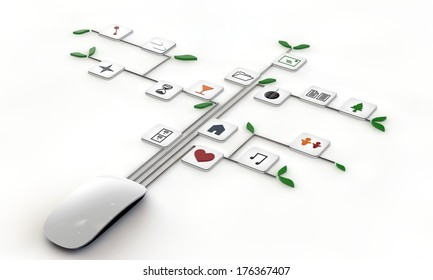 computer mouse connected with web icons isolated on white background
