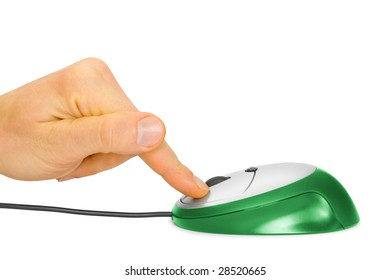 computer mouse and finger isolated on white background