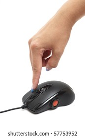 computer mouse and finger isolated on white
