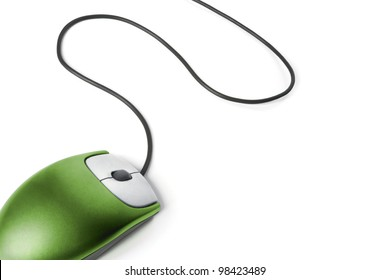 Computer mouse - Green on white background