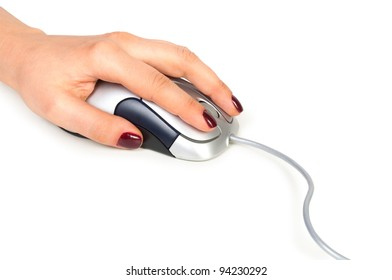 Computer mouse and hand isolated on white