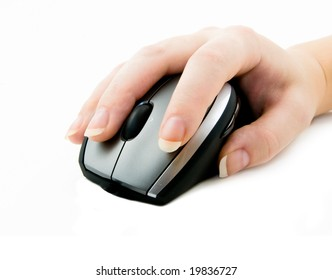 computer mouse with hand on white
