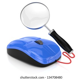 computer mouse and magnifier glass isolated on white. 3d rendered image. Internet searching concept.