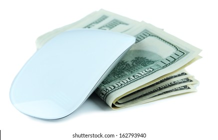 Computer mouse on dollars isolated on white