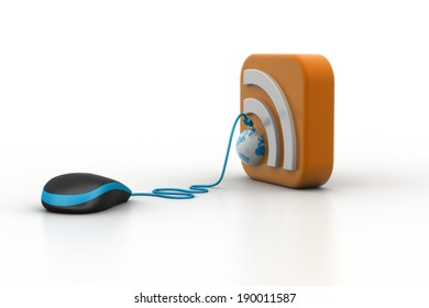 computer mouse with RSS icon