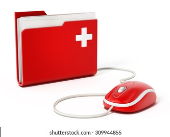 Computer mouse standing on medical folder.