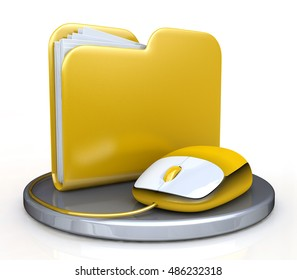 Computer mouse and yellow folder in the design of access to information relating to the storage and transmission of information. 3d illustration