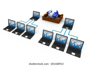 Computer Network and internet communication concept