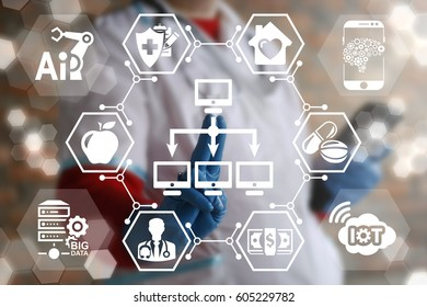 Computer network medicine concept. Healthcare Networking Computing modernization. Doctor presses network pc button on virtual screen. Medical communication. IT, AI, IOT, BIG DATA hospital integration
