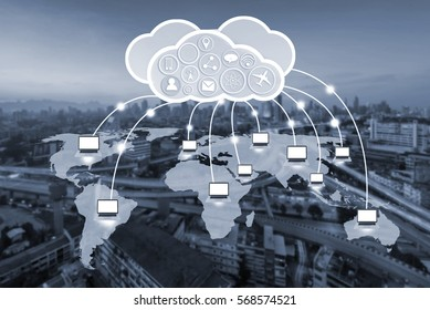 computer network on world map and cloud technology concept