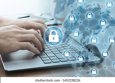 Computer network security system.  Blockchain technology concept. Closeup image of hands using laptop.