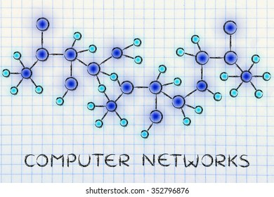 computer networks: technology and internet inspired abstract glowing connection illustration