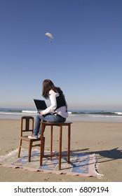 Computer on the beach