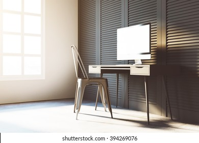 Computer on desk. Simply closeup of workspace. 3d render