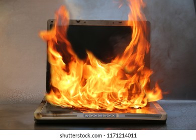 Computer on fire. Computer repair or damage.