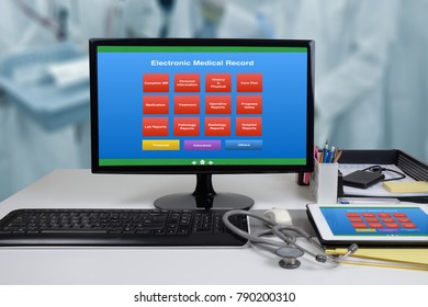 Computer on office desk showing EMR or electronic medical record menu on monitor.