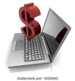 Computer online finance money with dollar sign  and notebook