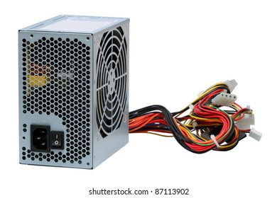 Computer power unit isolated on the white background