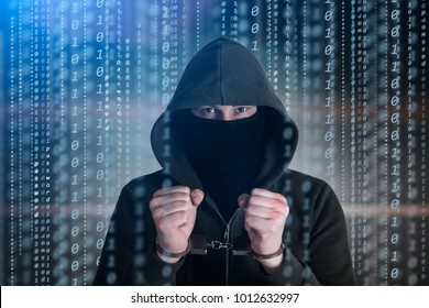 Computer privacy attack. Hackers programmer look on screen and forcibly writes the program code hack information.