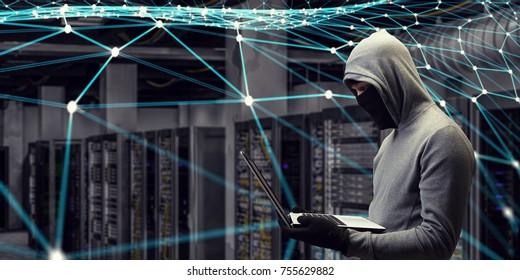 Computer privacy attack. Mixed media