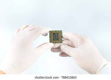 Computer processor chip (CPU) isolated on white background