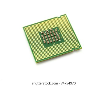 The computer the processor on a white background is isolated gold color with a microcircuit