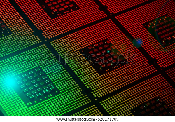 computer processors aligned with lighting effects postproduction, background.