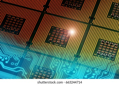 computer processors and blue electronic circuit with lighting effects postproduction, background.