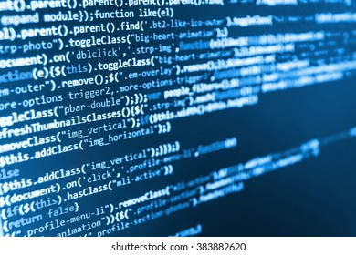 Computer program. Monitor photo. Developer working on websites codes in office.  Website codes on computer monitor. (Code is my own property there is no risk of copyright violations)