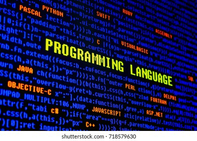 computer programming language list on monitor screen.