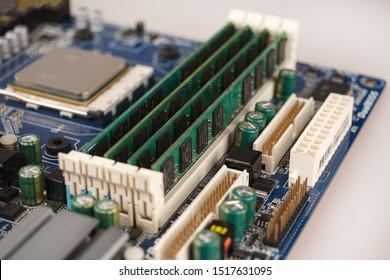 computer RAM, system, main memory, random access memory, onboard, computer detail, close-up, high resolution, installed on socket of motherboard