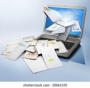 a computer  receiving a lot of spam
