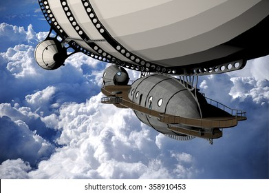 a computer rendered illustration of a vintage dirigible flying in the sky