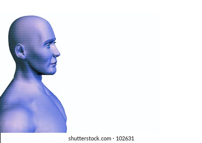 A computer rendering of a man with a number texture (binary) over his skin.