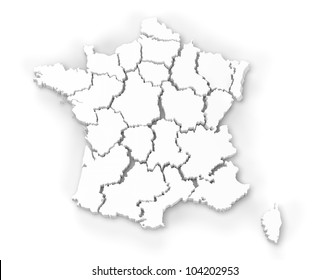 Computer rendering of a map of France showing regions in 3d